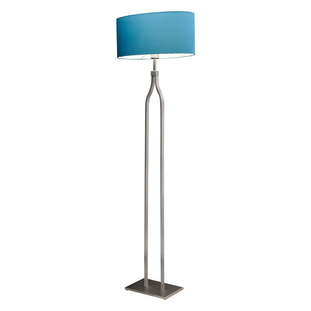 Stehlampe Edelstahl matt Schirm oval türkis – SI-EL-BR-3