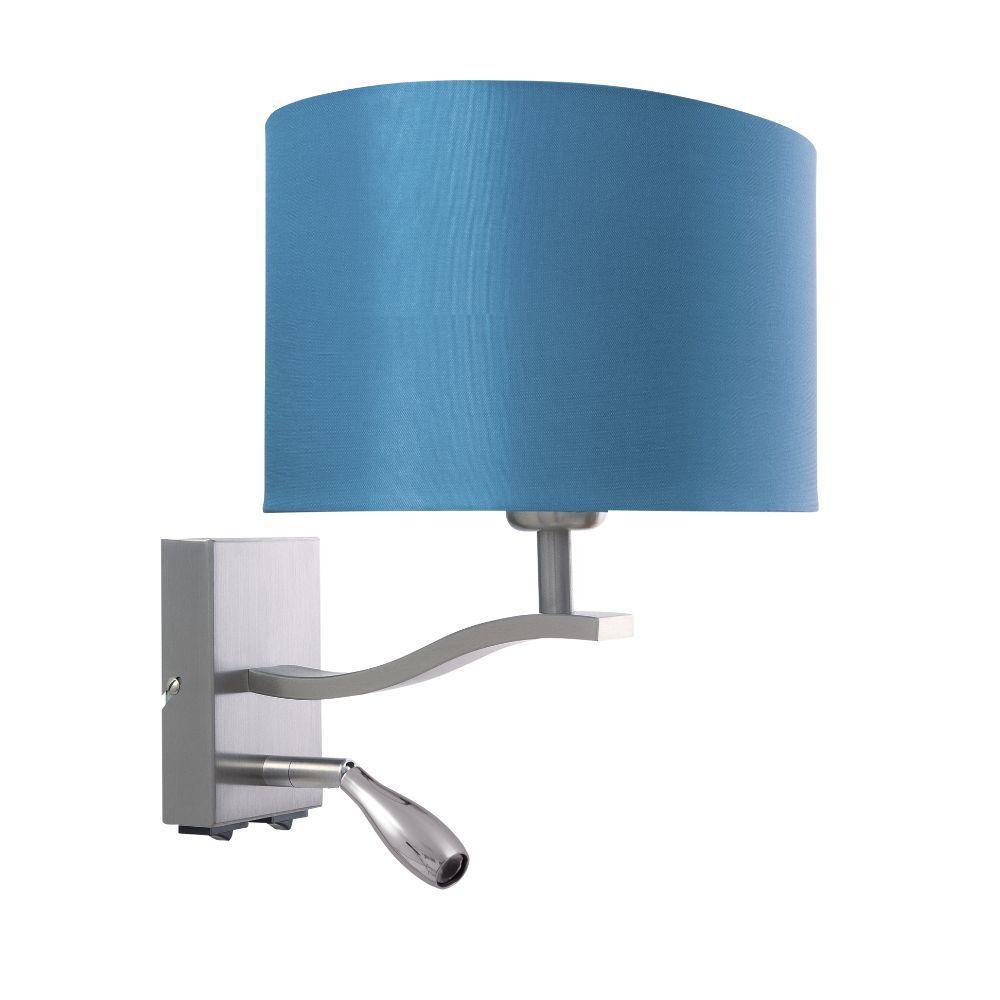 Wandlampe mit LED Leseleuchte Schirm oval türkis – SI-EL-BR-4