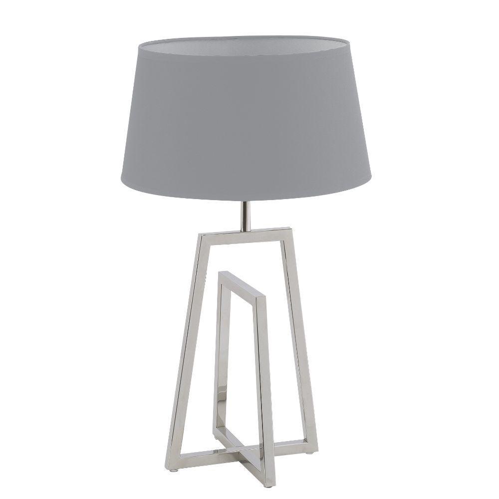 Tischlampe Edelstahl matt Schirm hell-grau – SI-EL-CR-1