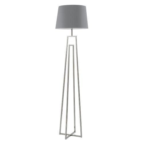 Stehlampe Bodenlampe Edelstahl matt Schirm hell-grau – SI-EL-CR-2