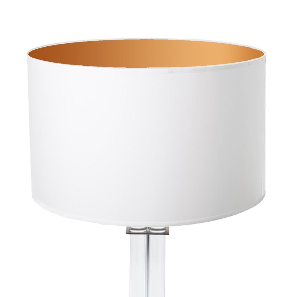 Lampenschirm rund 30cm Lack Weiß//Gold