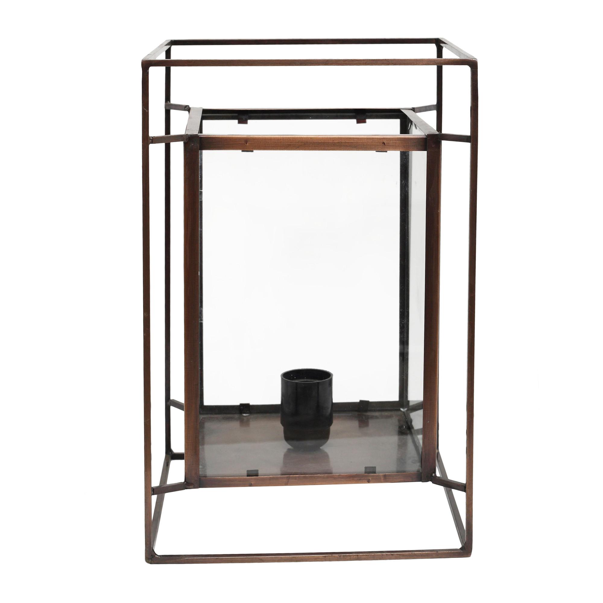 ZANE Tischleuchte antik Eisen mit Glas