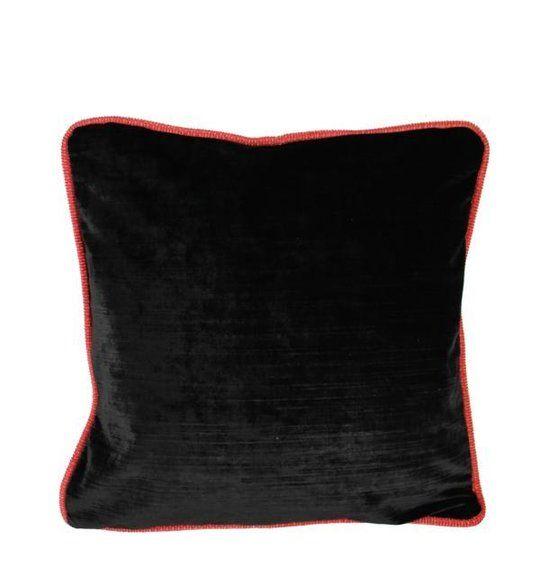 Kissen schwarz mit Keder rot - AK-4545-RS