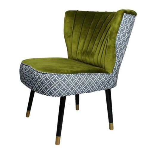 SIGNATURE HOME - Lounge Sessel mit Charakter Stoffkombi grün-gemustert