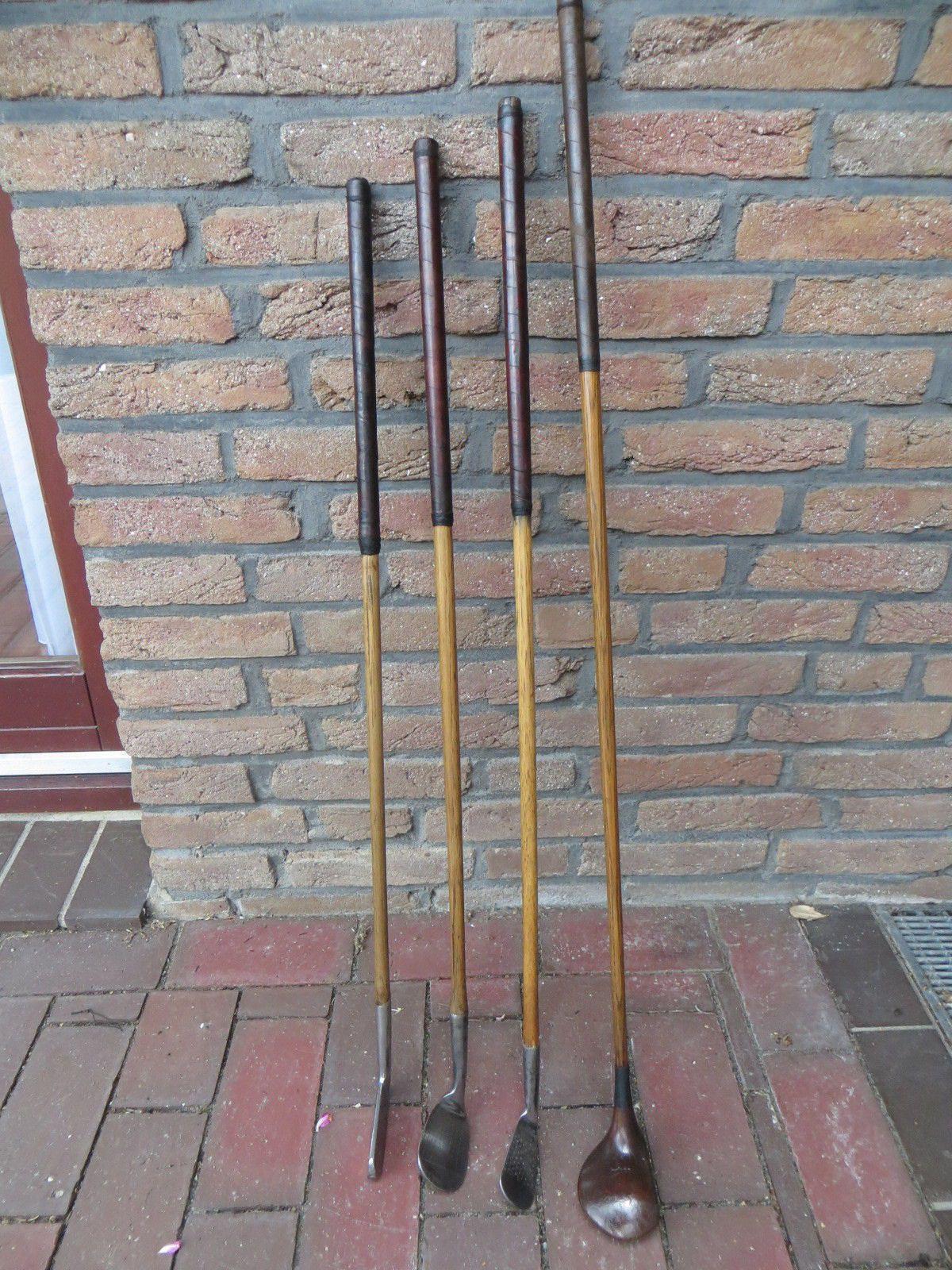 Alte Golfschläger aus Holz 4 Stück Dekoration