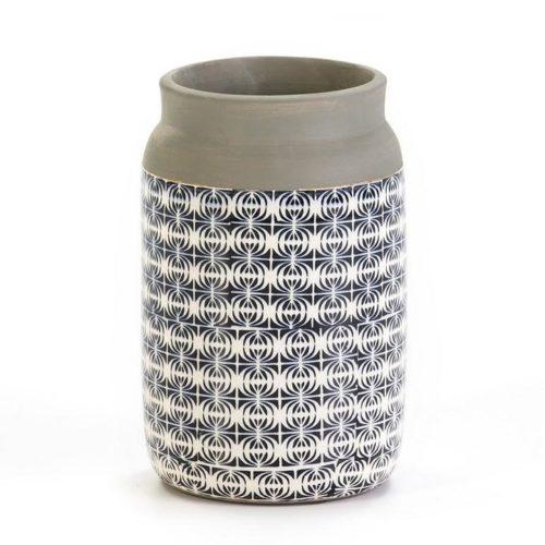 Thai Natura Vase TN-19838 Keramik grau mit Muster