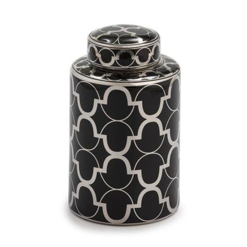 Thai Natura Deckelvase TN-21074 Keramik schwarz silber